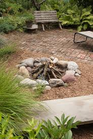 fire pit made of bricks outdoor camping fire pit in backyard plant u0026 flower stock