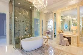 Crystal Chandelier For Bathroom Bathroom White Bathroom With Freestanding Tub Also Glass