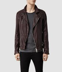mens leather biker jacket allsaints conroy leather biker jacket in purple for men lyst