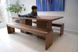 walnut dining table u0026 benches mijmoj