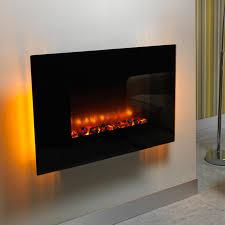 be modern orlando flat black wall mounted electric fire
