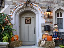 decoration ideas classic wood house entrance with cool halloween