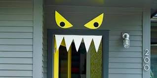 Red Ribbon Door Decorating Ideas Backyards Fun Halloween Front Doors Door Ideas Decorations For