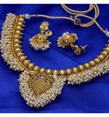 beautiful necklace online images Buy designer beautiful kundan pearl necklace with jhumkas set jpg