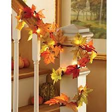 colorful lighted fall leaves decorative garland home