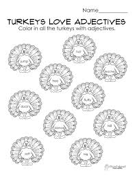 turkeys adjectives free parts of speech worksheet
