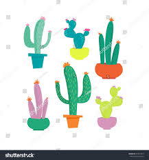 cactus pot set colored funny cute stock vector 653874319