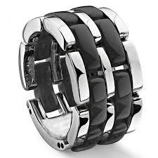 ceramic diamond rings images Double row black diamond ceramic unisex wedding ring jpg