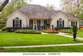 one storey house one storey house lawn landscaping stock photo royalty free