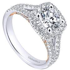 halo engagement ring settings only layla 14k white gold cushion halo engagement ring