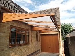 decorating carport canopy with brick wall decoration and tile