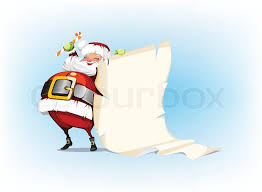 santa claus holding and standing beside scroll stock