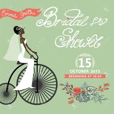 bridal shower card with mulatto bride on retro bicycle and floral
