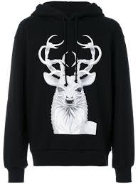 juun j deer print hoodie in black for men lyst