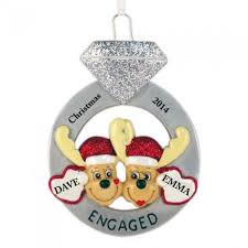 engagement mooses personalized ornament and city