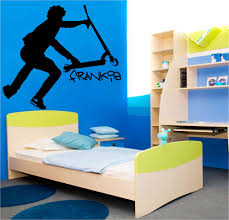 large personalised stunt scooter teenage bedroom wall art sticker large personalised stunt scooter teenage bedroom wall art sticker transfer decal