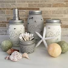 Mason Jar Bathroom Storage by Coastal Essentials Home 4 Piece Distressed Mason Jar Bathroom Set