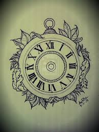drawn pocket watch clockwork pencil and in color drawn pocket