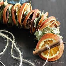 dried orange garland with fragrant botanicals bay leaves