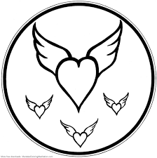 printable children coloring page flying heart mandala flickr