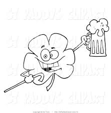 vector clip art of an outlined drunk shamrock by hit toon 72