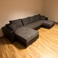 couch u form sofa u form schwarz schlaf funktion struktur stoff wohnlandschaft