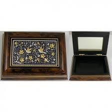 jewelry box photo frame gold and silver bird wooden jewelry box