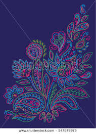 paisley mehendi henna colored floral pattern stock vector