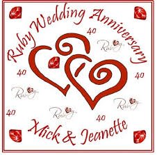 buy ruby wedding anniversary cake topper personalised names