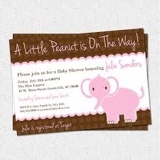 baby shower invitations elephant little peanut pink and