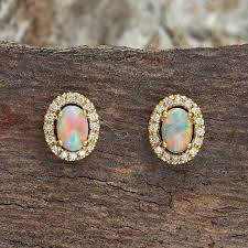 gold stud earings gold solid opal earrings black opal