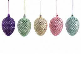 pastel colored glass easter egg ornaments pastels
