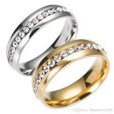finger wedding rings images 316l stainless steel crystal wedding rings simple row gold ring jpg