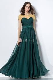 short sleeve green two tone a line long vintage evening prom dress