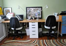 furniture woven area rug and creative long wood computer desk for