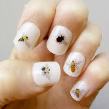 bee nail transfers handmade illustrated nail art decals