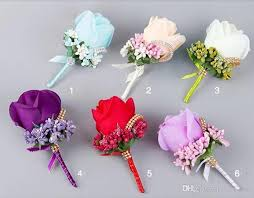 purple corsage artificial flower wedding bridal bouquets bridesmaid
