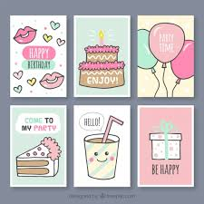 set of hand drawn birthday cards vector free download