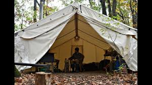 off grid man and dog live in canvas tent youtube