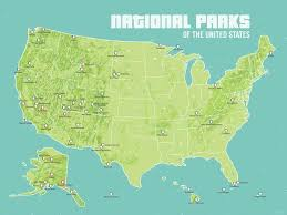 parks map us national parks map 18x24 poster best maps