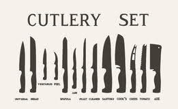 kitchen knives names flat kitchen knife set with signature names vector knives stock