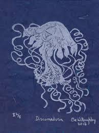 discomedusa jellyfish linocut on japanese paper lino block