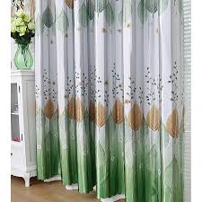 Leaf Pattern Curtains Green And Silver Polyester Leaf Pattern Decorative Country Curtains