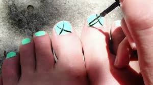 simple mint toe nail design youtube