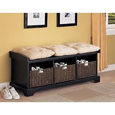 amazon com coaster entryway bench with storage baskets and