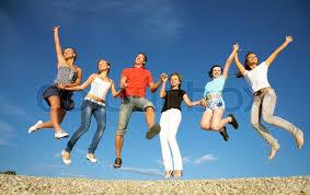 happy friends stock photo colourbox