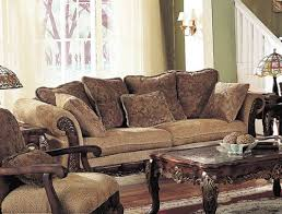 traditional sofas and couches sofa couch with wooden frame brown