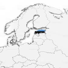Estonian Flag 3d Map Of Estonia With Estonian Flag On White Background 3d