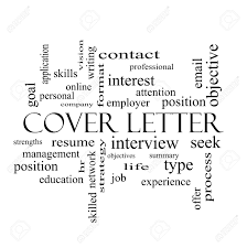 cover letter word cloud concept in black and white with great