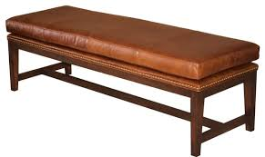 Mid Century Modern Baseboard Trim Mid Century Modern Tobacco Brown Leather Bench With Nailheads
